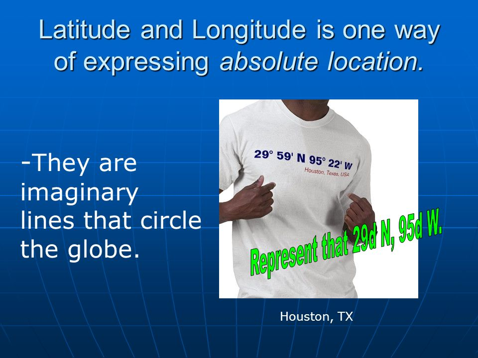 Latitude and Longitude is one way of expressing absolute location.