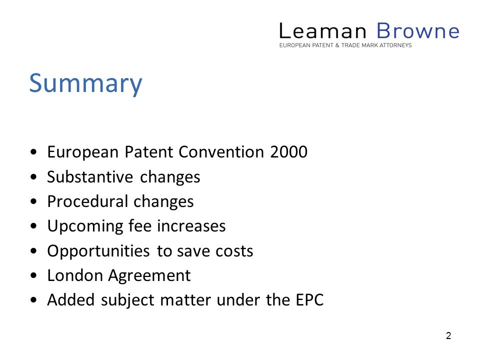 1 Epc 2000 The London Agreement New Matter Objections Cost Saving