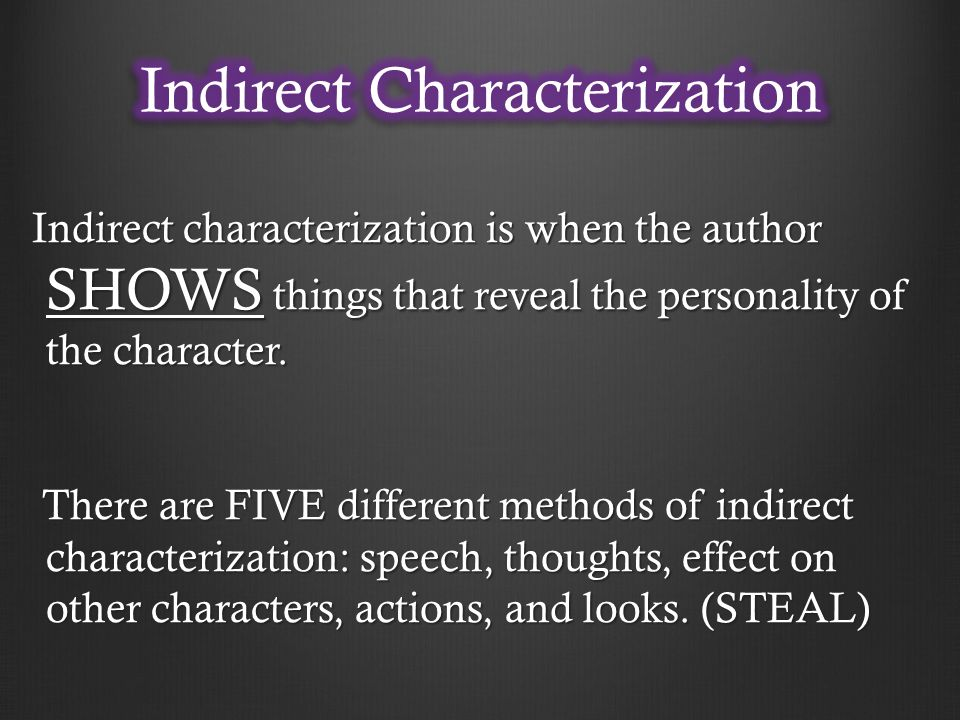 Indirect characterization is when the author SHOWS things that reveal the personality of the character.