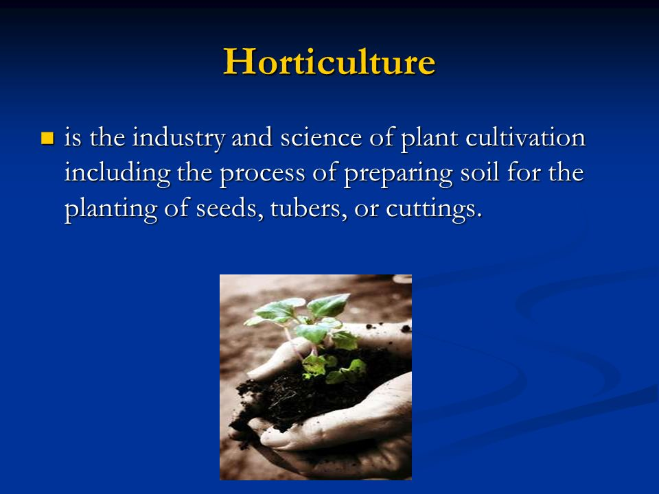 Horticulture is the industry and science of plant cultivation including the process of preparing soil for the planting of seeds, tubers, or cuttings.