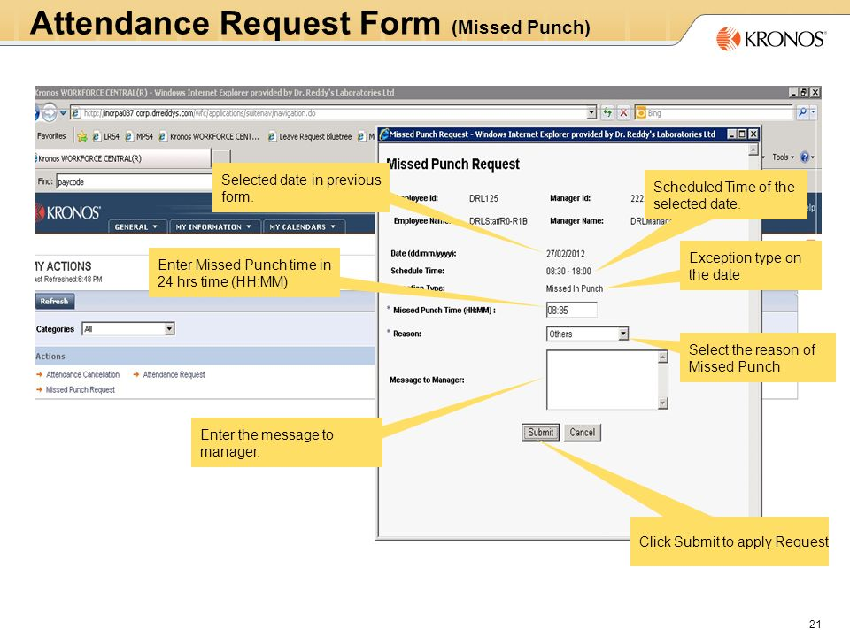 Name Attendance Request Form Missed Punch 21 Scheduled Time Of The Selected Date
