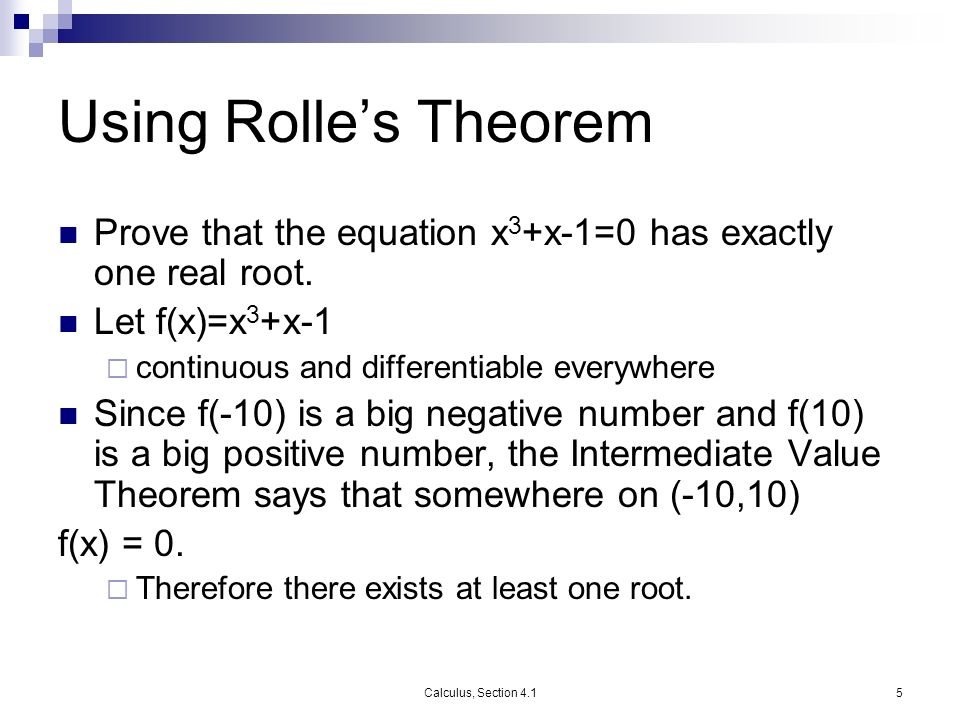 Section 42 Rolles Theorem Mean Value Theorem Calculus Winter