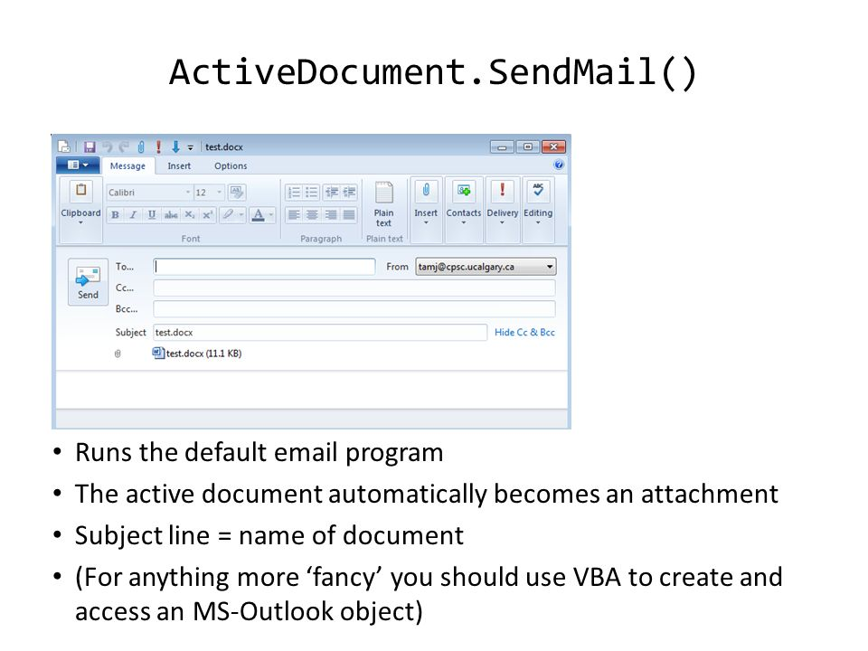VBA (Visual Basic For Applications) Programming Overview of