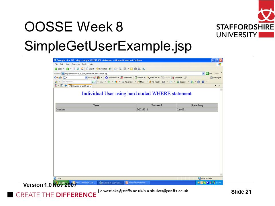 OOSSE Week 8 JSP models Format of lecture: Assignment