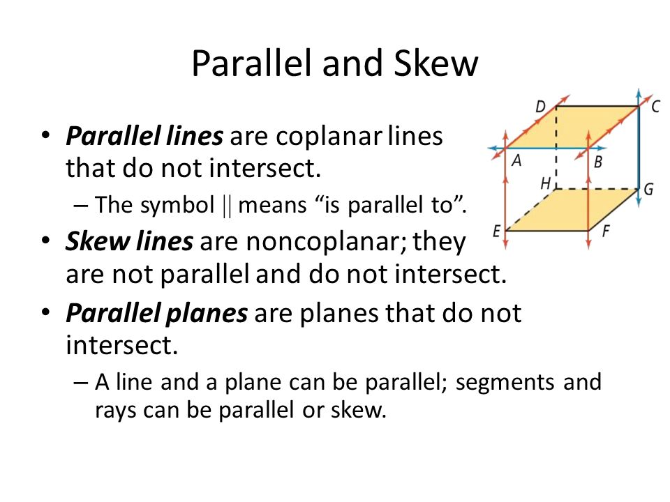 3 1 Lines And Angles Parallel And Skew Parallel Lines Are Coplanar