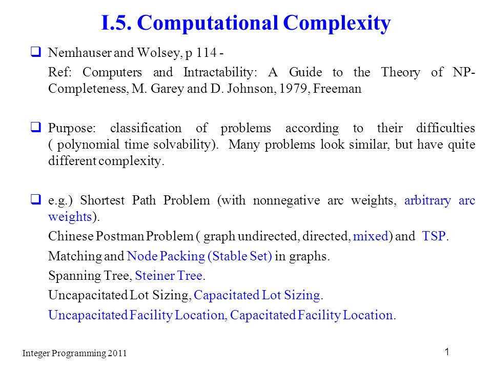 Integer programming wolsey manual array integer programming i 5 computational complexity nemhauser and rh slideplayer com fandeluxe Choice Image