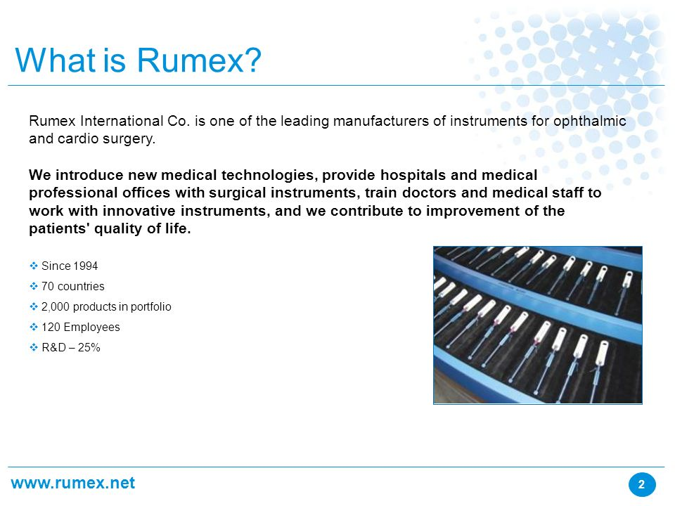 innovations Rumex International Co  The advantages of instruments by