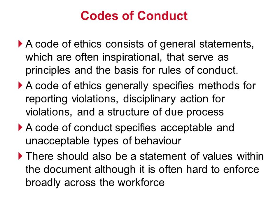an essay on the laws and ethical codes of the different cultures Ethics can also be defined as the manual defining the code of morals the presence of qualities showing high ethics in a person is termed as morality more commonly, people associate the term moral with the lesson learnt from a story or a fable.