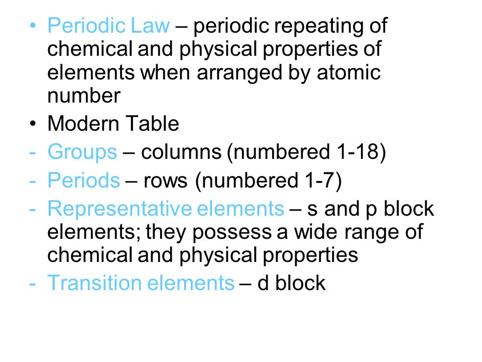 Ch 6 Notes Pre Ap Chemistry Periodic Table And Periodic Law John