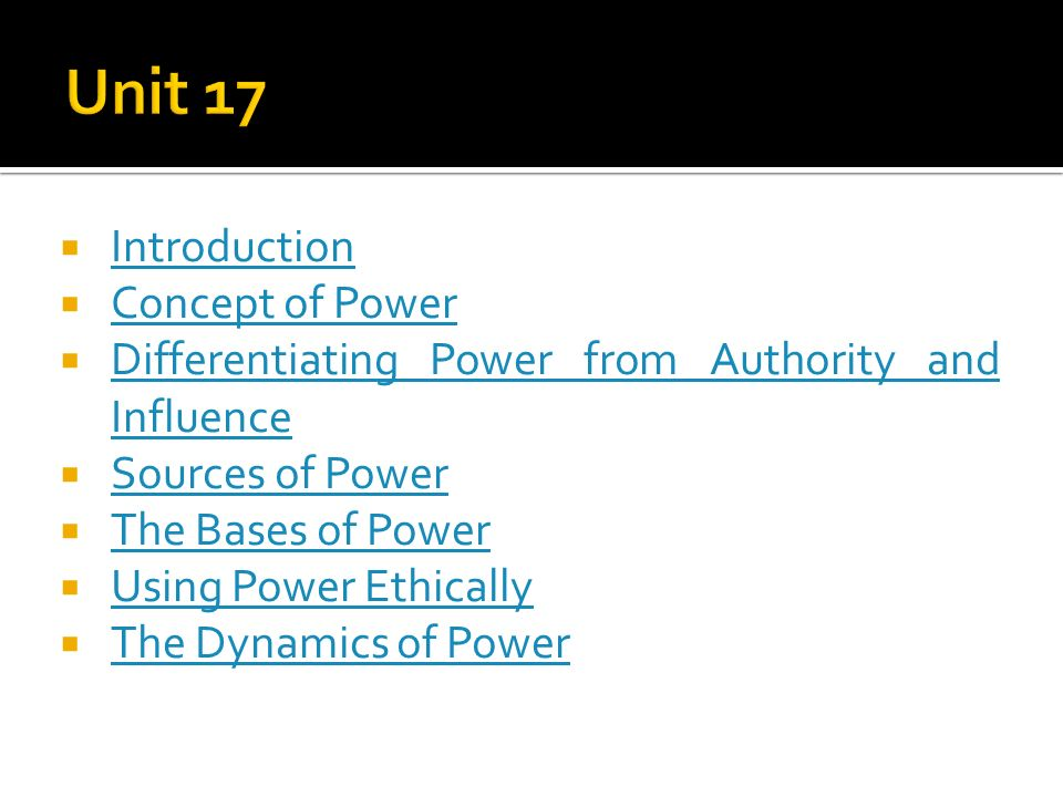 concept of power and authority