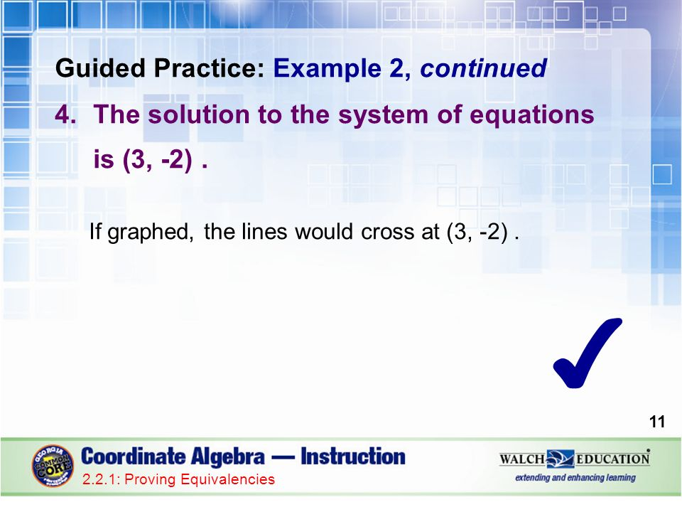 Guided Practice: Example 2, continued 4.The solution to the system of equations is (3, -2).