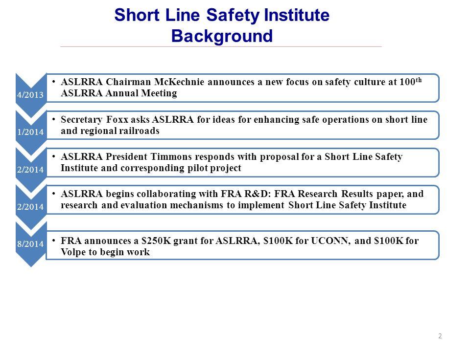 ASLRRA Short Line Safety Institute Mission: Enhance safety culture