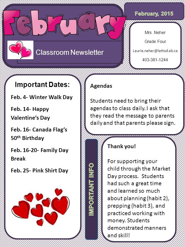 Classroom Newsletter Important Dates Feb 4 Winter Walk Day Feb