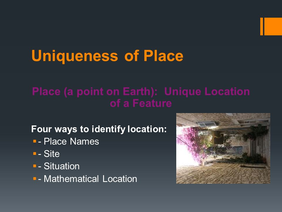 Ch 1 Section #2  Uniqueness of Place Place (a point on Earth