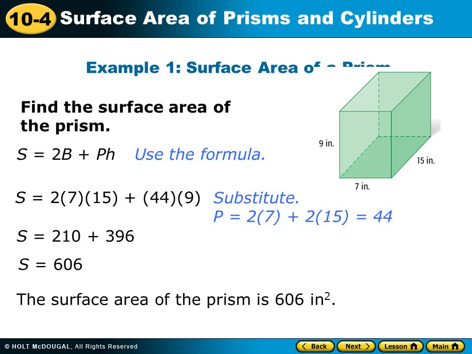 problem solving surface area of prisms and cylinders 10-4