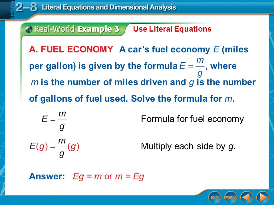 Example 3a Use Literal Equations Answer Eg M Or A