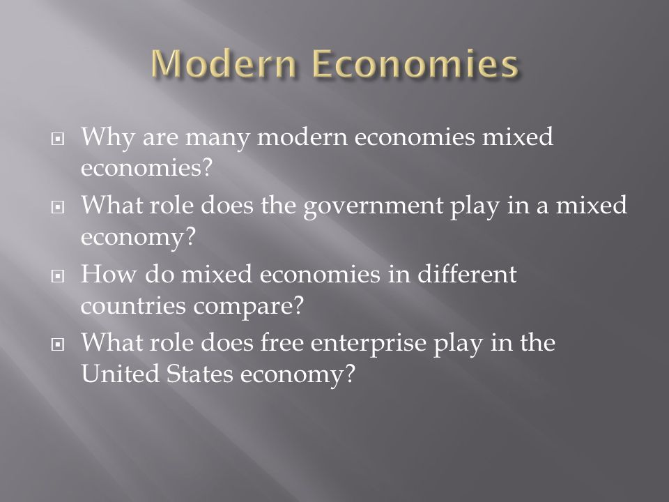 countries under mixed economy