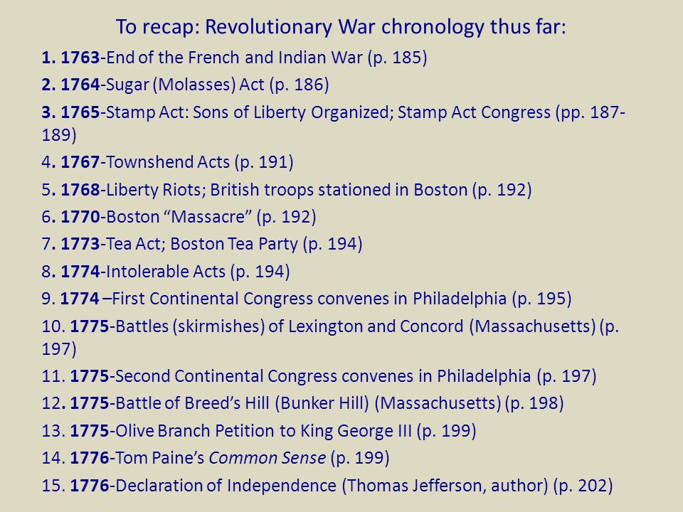 Friday 16 October Chapter 5 The American Revolution The