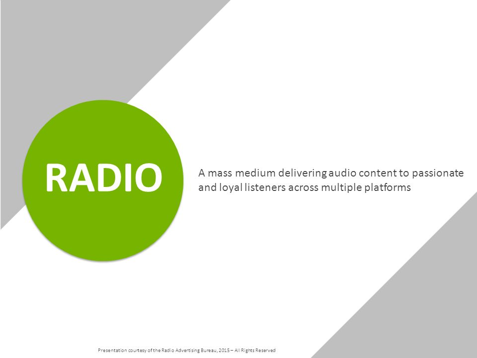 A mass medium delivering audio content to passionate and loyal listeners across multiple platforms RADIO Presentation courtesy of the Radio Advertising Bureau, 2015 – All Rights Reserved