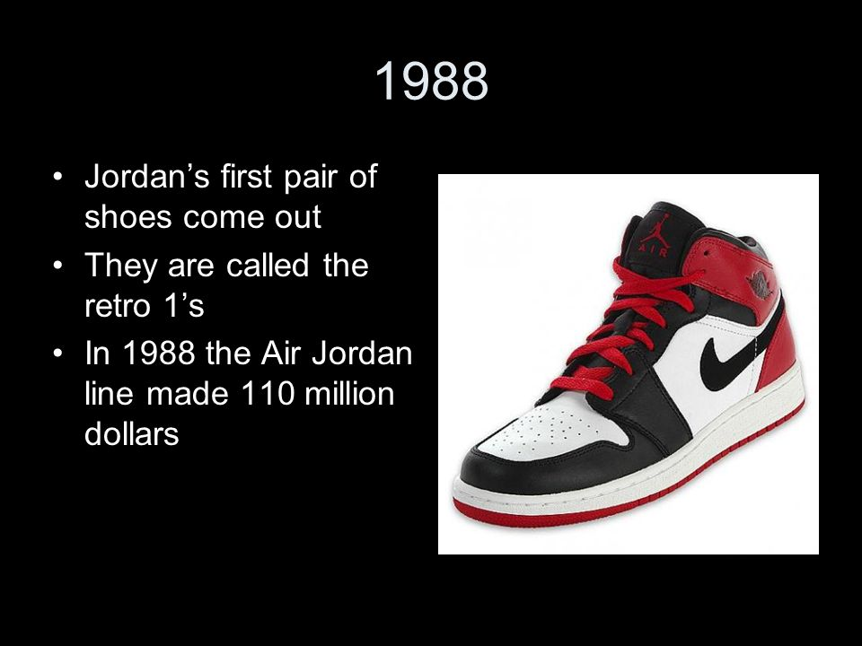47f121bee84 5 1988 Jordan's first pair of shoes come out They are called the retro 1's  In 1988 the Air Jordan line made 110 million dollars