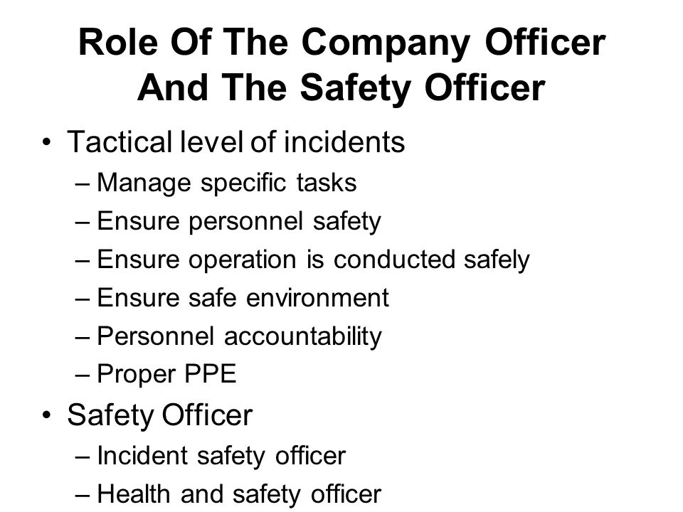 The duty of a section safety officer