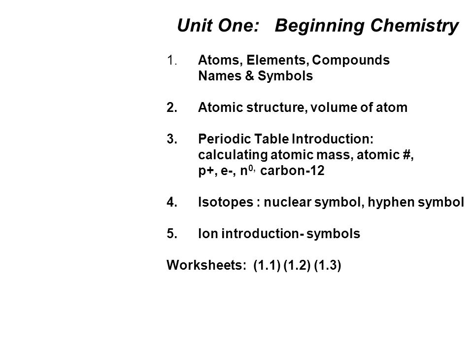 Unit One Beginning Chemistry 1 Atoms Elements Compounds Names