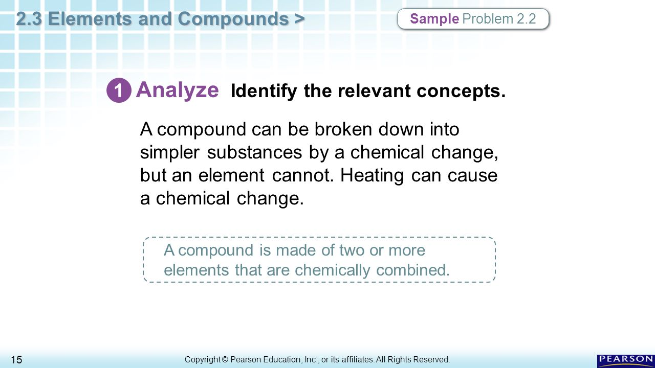 2.3 Elements and Compounds > 1 Copyright © Pearson Education, Inc ...