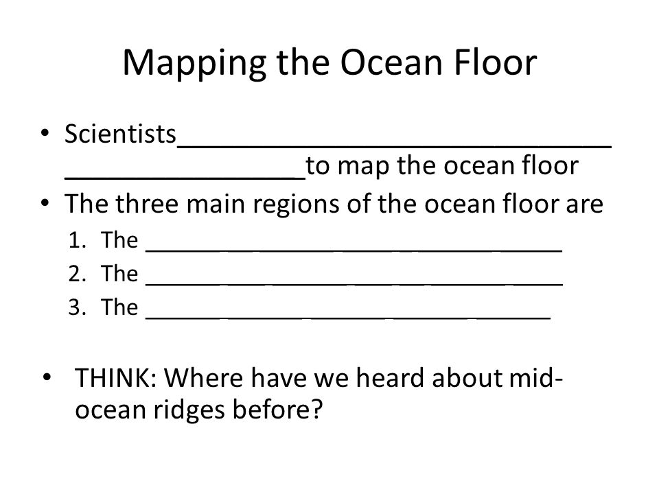Ocean Regions Monday November 15 Objectives I Will Be Able To
