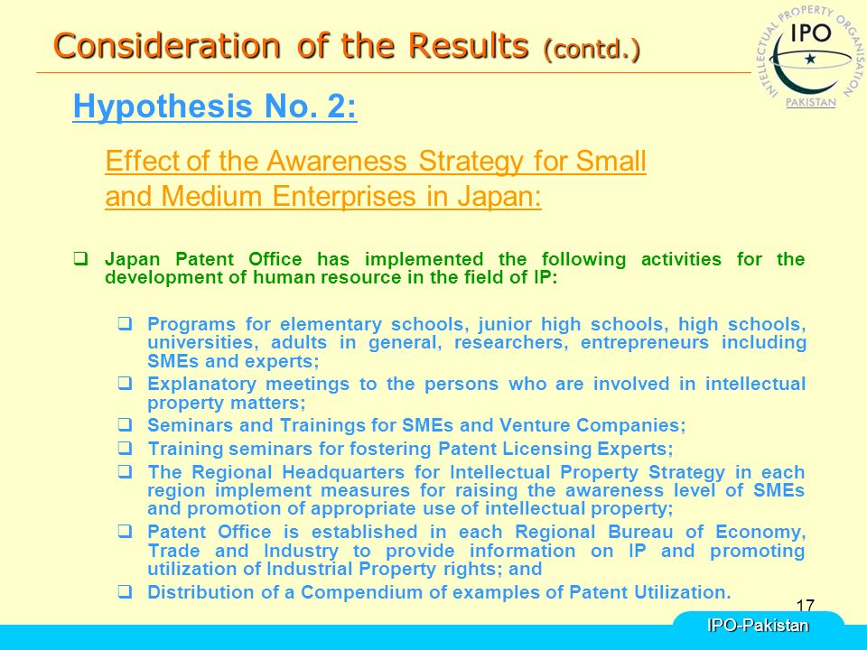 17 Consideration of the Results (contd.) Hypothesis No.