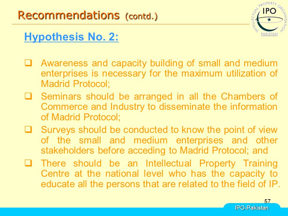 57 Recommendations (contd.) Hypothesis No.
