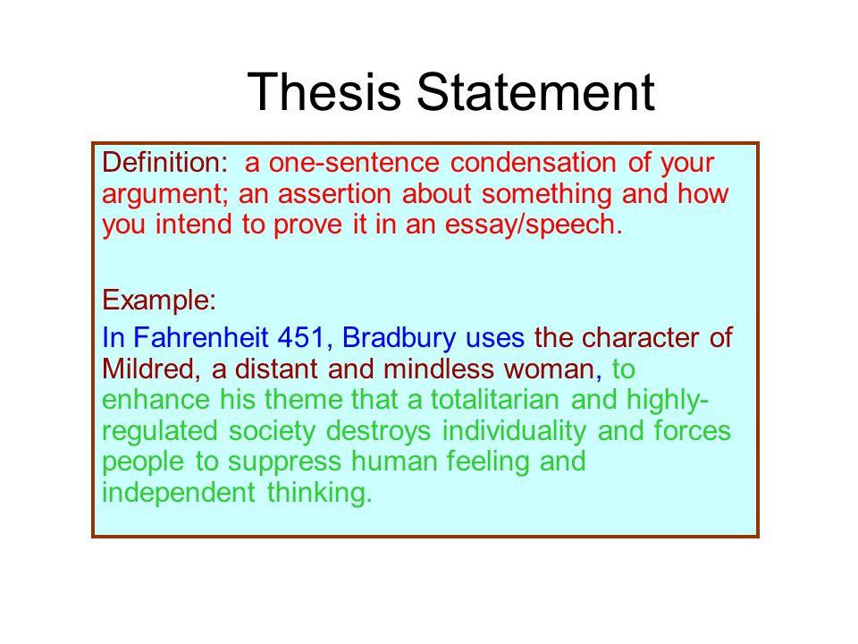 Fahrenheit 451 Thesis Statement
