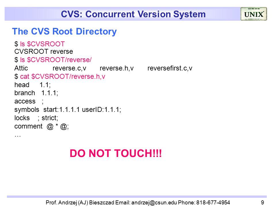 cvs concurrent version system lecturer prof andrzej aj