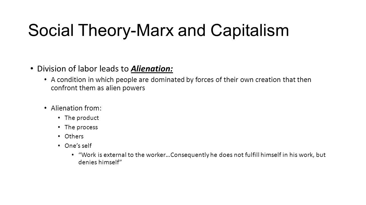 outline and discuss marxs theory of alienation Marx's theory of alienation by holly graff human self-creation although marx does not have an ahistorical conception of human nature, he does hold that certain very general categories can be appropriately used when discussing human beings of any historical.