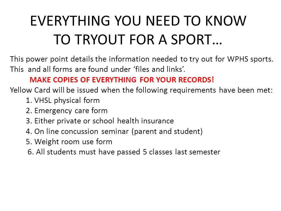 Everything You Need To Know To Tryout For A Sport This Power Point