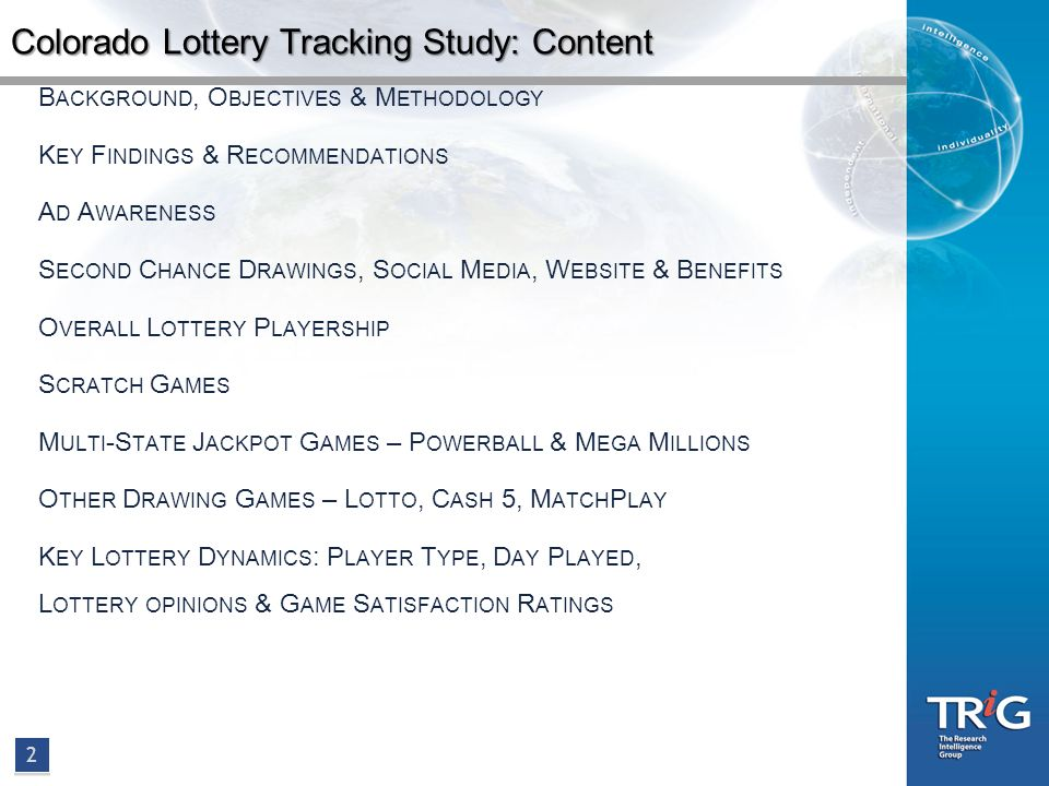 Colorado Lottery Tracking Study Presentation October 2011