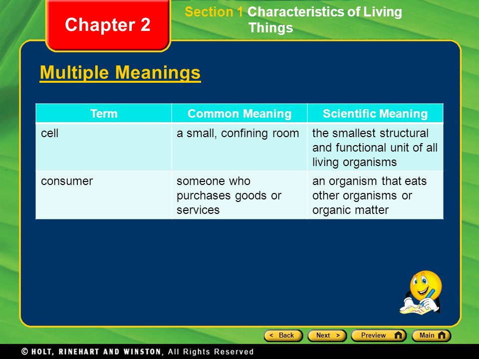 5 Backnext Previewmain Section 1 Characteristics Of Living Things Chapter 2 Multiple Meanings