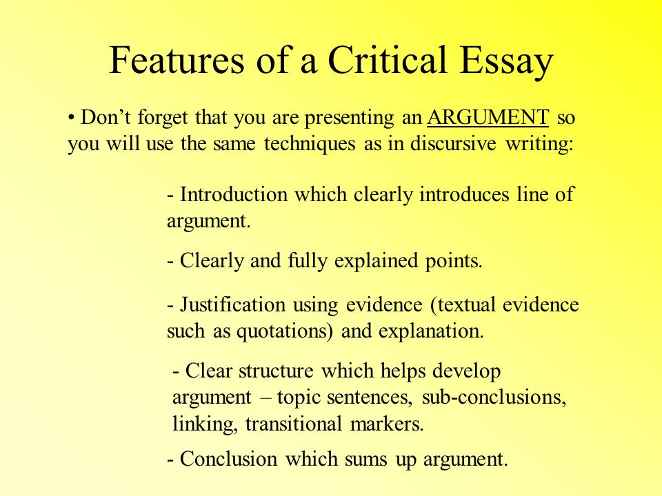 Critical Essays National  Purpose Of The Critical Essay A   Features Of A Critical Essay Dont Forget That You Are Presenting An  Argument So You Will Use The Same Techniques As In Discursive Writing   Introduction