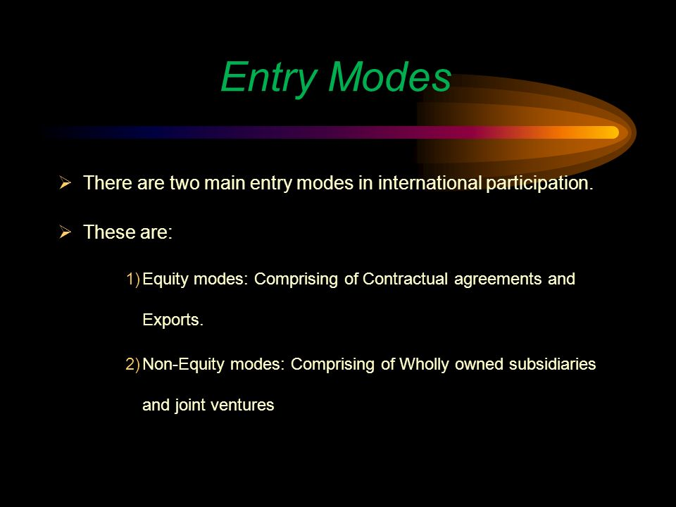 example of exporting entry mode