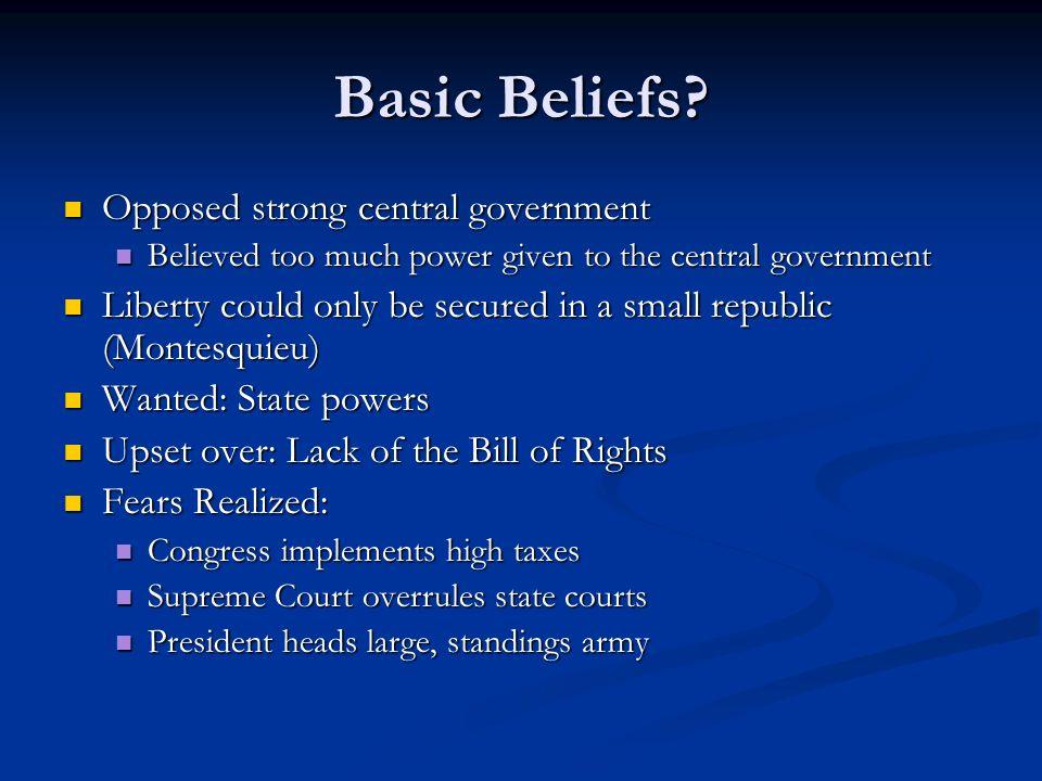 anti federalist vs federalist beliefs