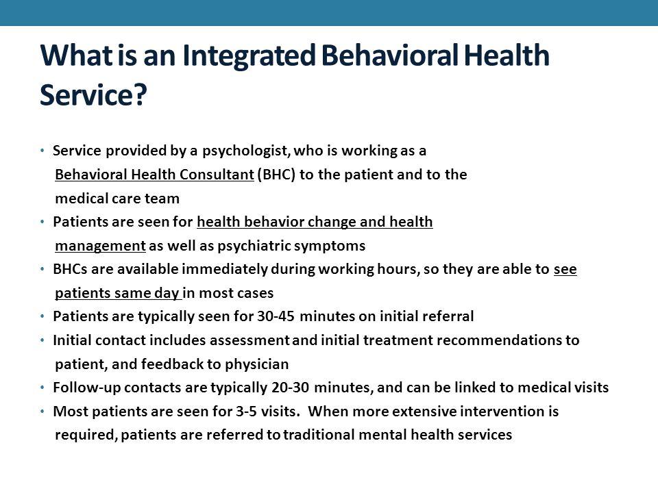 The Integrated Behavioral Health Service Tiffany Cummings M S Natasha Mroczek M S Thom Harrell Ph D School Of Psychology Florida Institute Of Ppt Download