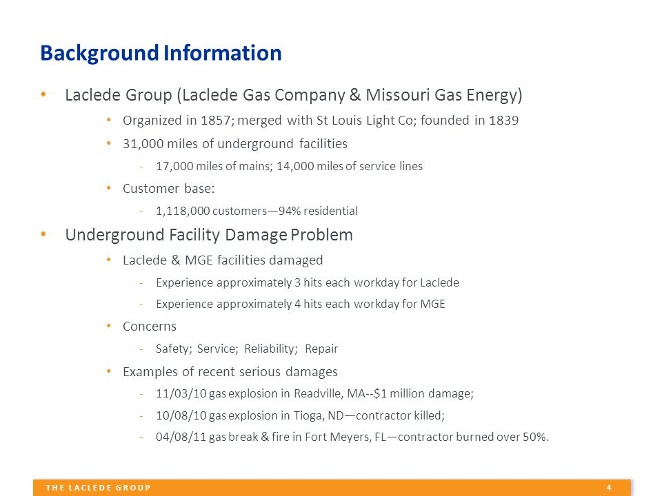 1 The Laclede Group Damage Prevention A Shared Responsibility
