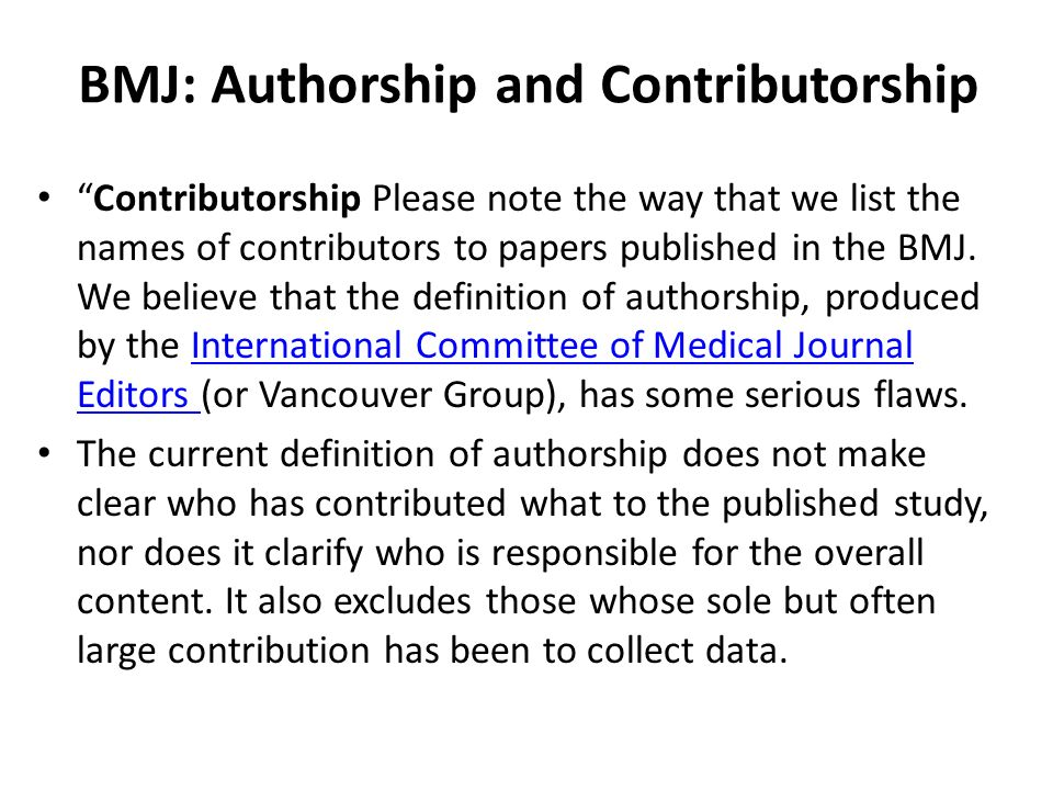 Contributorship statement example bmj.
