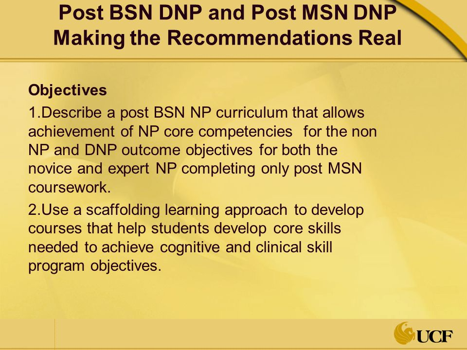 Post Bsn Dnp And Post Msn Dnp Programs Making The Recommendations