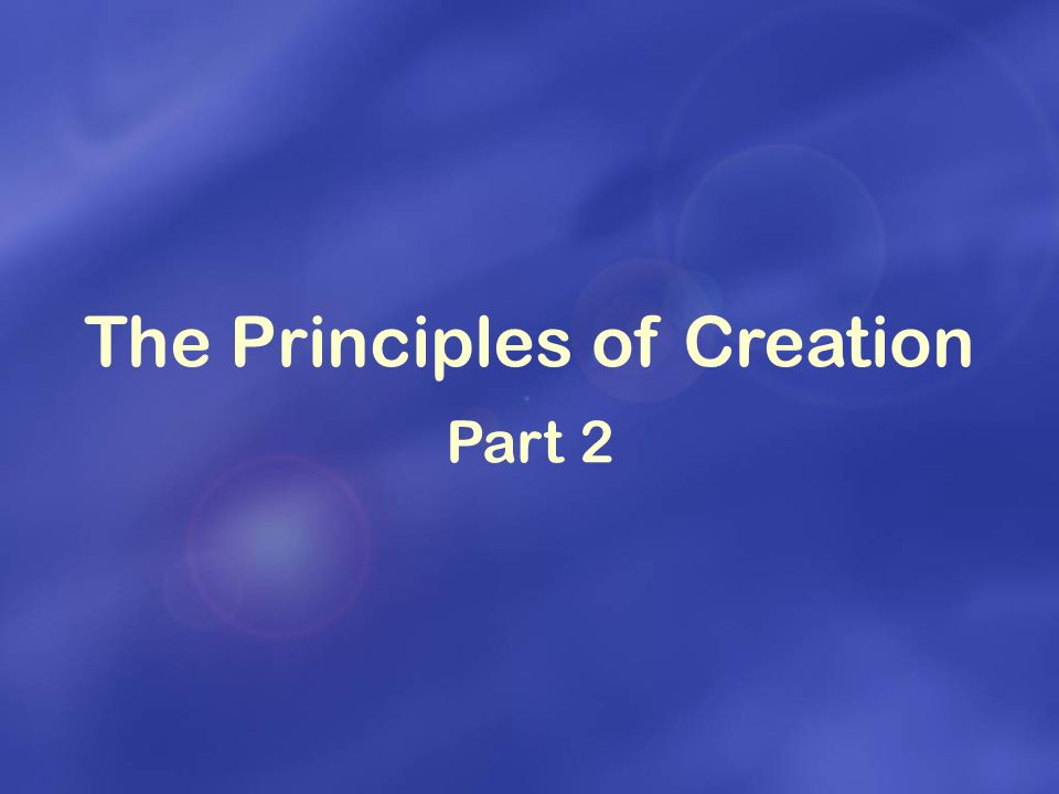 THE PRINCIPLES OF CREATION