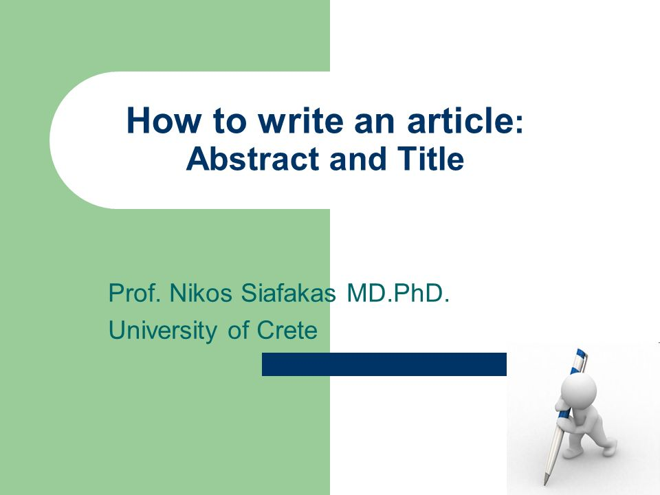 how to write the title of an article