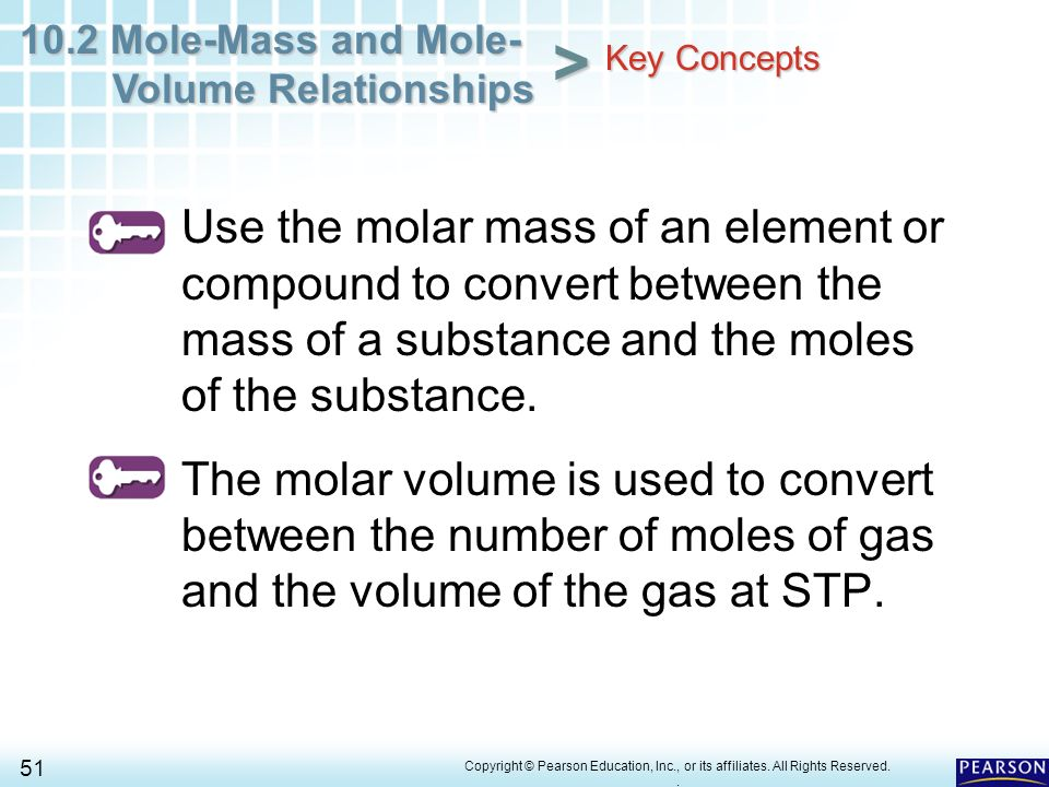 102 Mole Mass And Mole Volume Relationships 1 Copyright