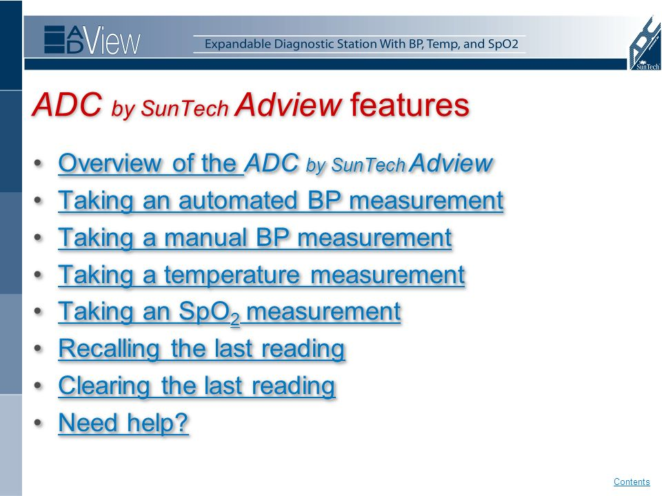 Using your Diagnostic Station ADC by SunTech Adview features