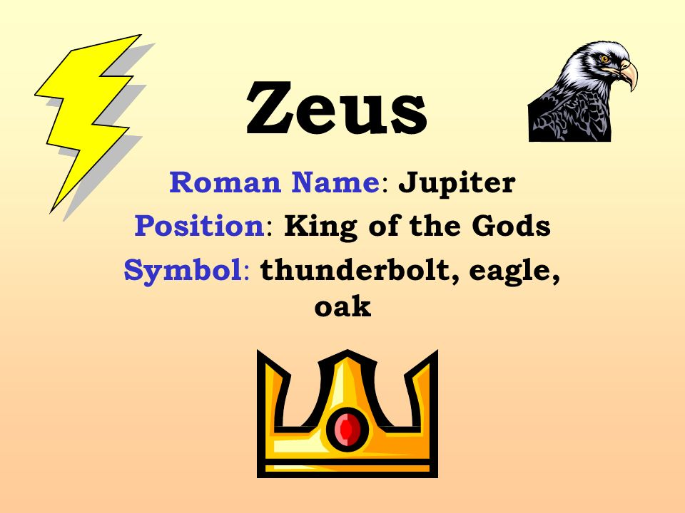 The Gods Of Olympus Zeus Roman Name Jupiter Position King Of The
