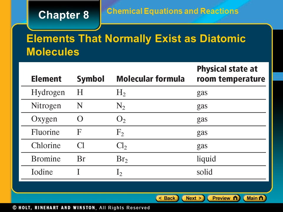 2 Chemical Equations And Reactions Elements That Normally Exist As Diatomic Molecules Chapter 8