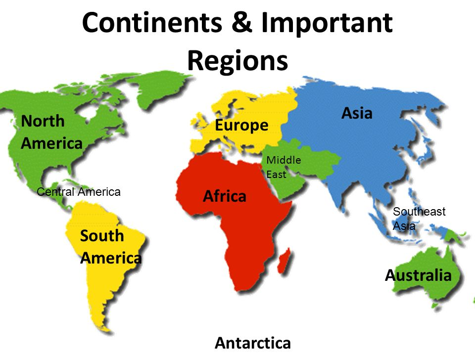 Map Of America North South And Central.World Geography Continents Important Regions North America South